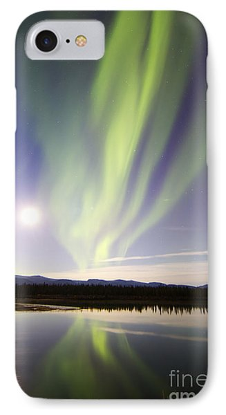 Aurora Borealis And Full Moon Phone Case by Joseph Bradley
