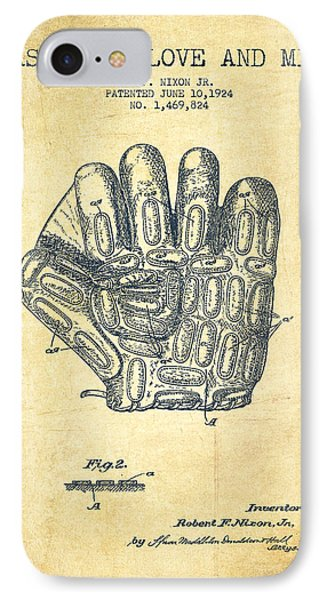 Baseball Gloves iPhone 7 Case - Baseball Glove Patent Drawing From 1924 by Aged Pixel