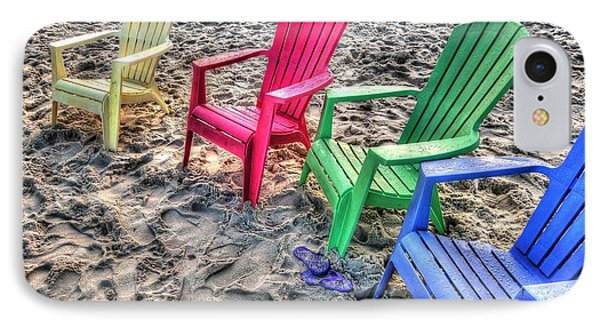 4 Beach Chairs IPhone Case by Michael Thomas