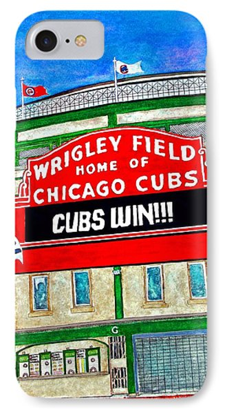 Blue Skies Over Wrigley IPhone Case by Janet Immordino