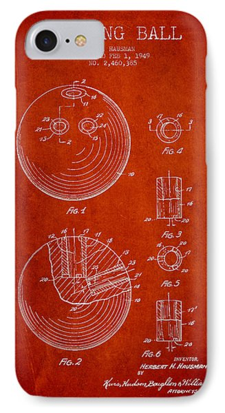 Bowling Ball Patent Drawing From 1949 IPhone Case