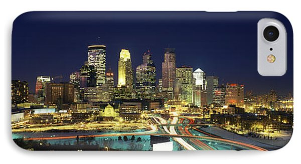 Buildings Lit Up At Night In A City IPhone Case