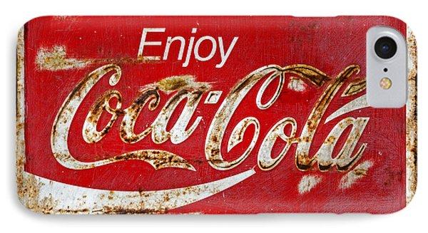 Coca Cola Vintage Rusty Sign Black Border IPhone Case by John Stephens