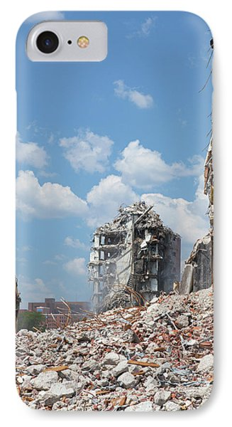 Demolition Of Detroit Housing Towers IPhone Case by Jim West