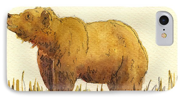 Grizzly Bear iPhone 7 Case - Grizzly Bear by Juan  Bosco