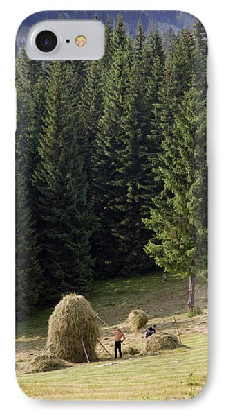Hay Harvest And Haystack In The Apuseni IPhone Case by Martin Zwick