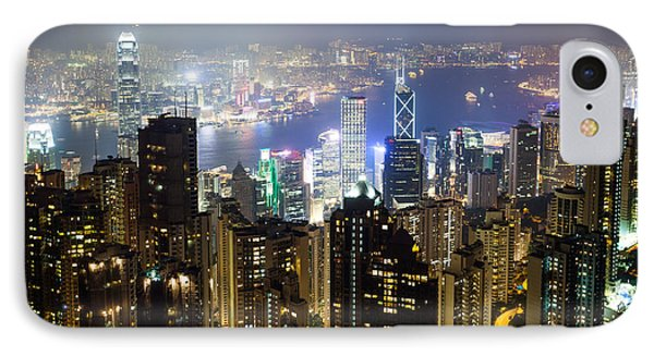 Hong Kong Harbor From Victoria Peak At Night IPhone Case by Matteo Colombo