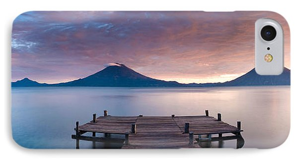 Jetty In A Lake With A Mountain Range IPhone Case by Panoramic Images