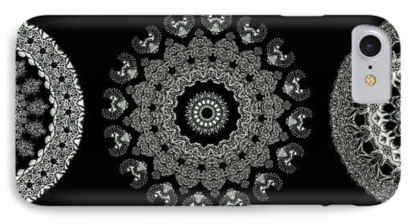 Kaleidoscope Ernst Haeckl Sea Life Series Black And White Set 2  Phone Case by Amy Cicconi