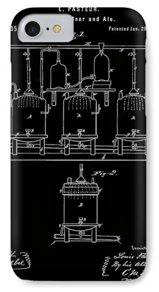 Louis Pasteur Beer Brewing Patent 1873 - Black IPhone Case by Stephen Younts