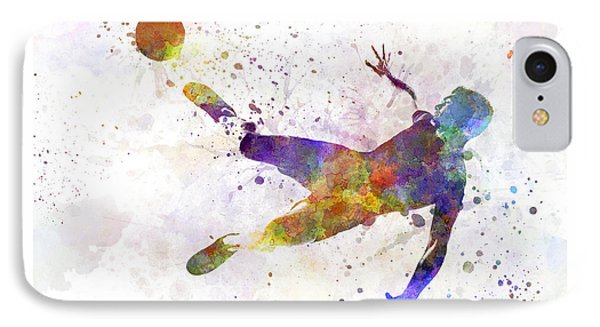 Man Soccer Football Player Flying Kicking IPhone Case by Pablo Romero