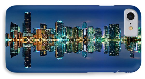 IPhone Case featuring the photograph Miami Skyline At Night by Carsten Reisinger