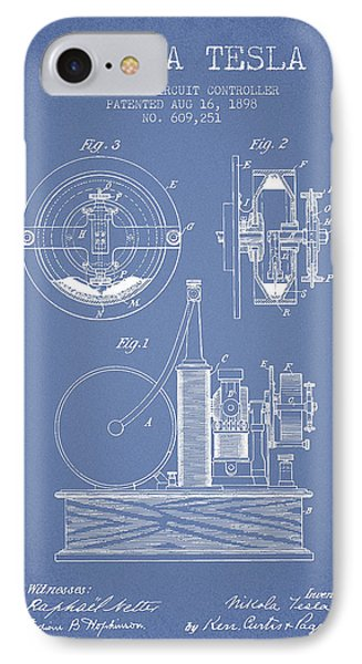 Nikola Tesla Electric Circuit Controller Patent Drawing From 189 IPhone Case