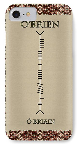 IPhone Case featuring the digital art O'brien Written In Ogham by Ireland Calling