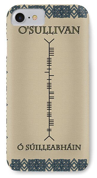 IPhone Case featuring the digital art O'sullivan Written In Ogham by Ireland Calling