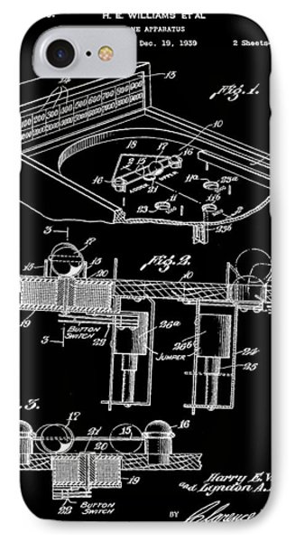 Pinball Machine Patent 1939 - Black IPhone Case by Stephen Younts