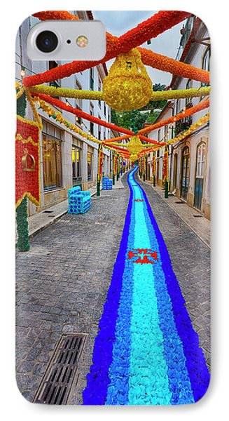 Portugal, Streets Of Tomar Decorated IPhone Case by Terry Eggers