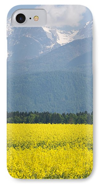rapeseed field in Brnik with Kamnik Alps in the background IPhone Case