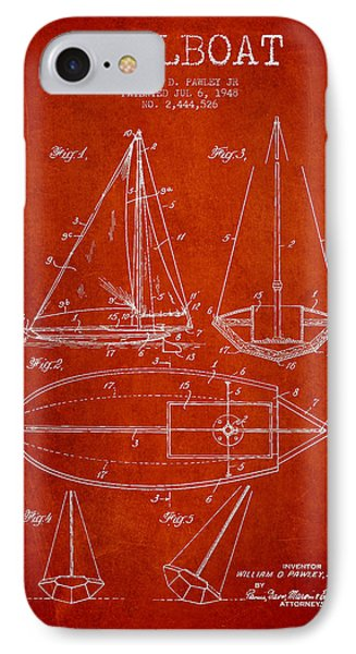 Sailboat Patent Drawing From 1948 IPhone Case