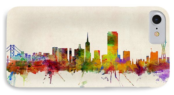 San Francisco City Skyline IPhone Case by Michael Tompsett