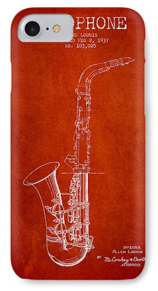 Saxophone Patent Drawing From 1937 - Red IPhone 7 Case by Aged Pixel