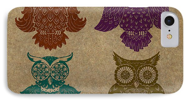 4 Sophisticated Owls Colored IPhone Case by Kyle Wood