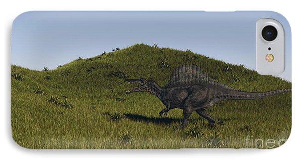Spinosaurus Walking Across A Grassy Phone Case by Kostyantyn Ivanyshen