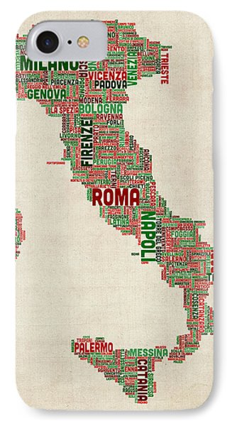 Text Map Of Italy Map Phone Case by Michael Tompsett