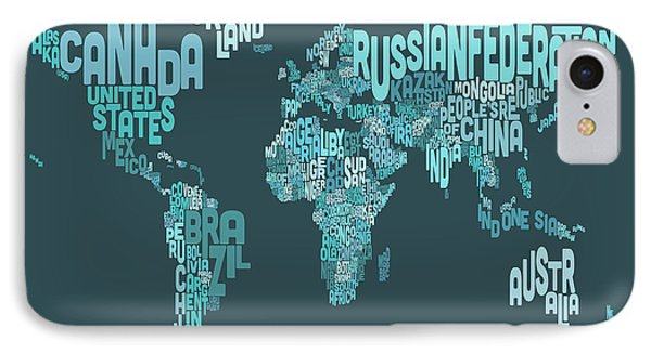 Text Map Of The World Map Phone Case by Michael Tompsett