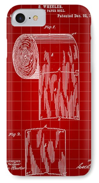 Toilet Paper Roll Patent 1891 - Red IPhone Case by Stephen Younts