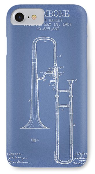 Trombone iPhone 7 Case - Trombone Patent From 1902 - Light Blue by Aged Pixel