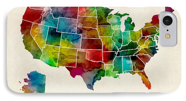 United States Watercolor Map IPhone Case by Michael Tompsett