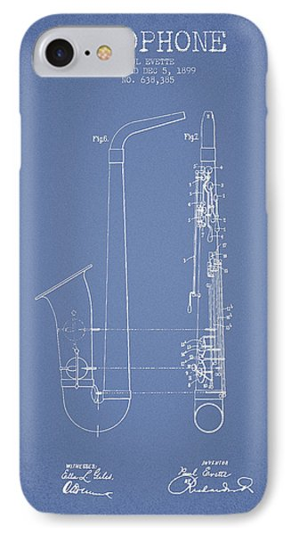 Saxophone Patent Drawing From 1899 - Light Blue IPhone Case by Aged Pixel