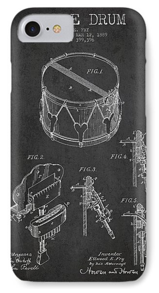 Vintage Snare Drum Patent Drawing From 1889 - Dark IPhone Case by Aged Pixel