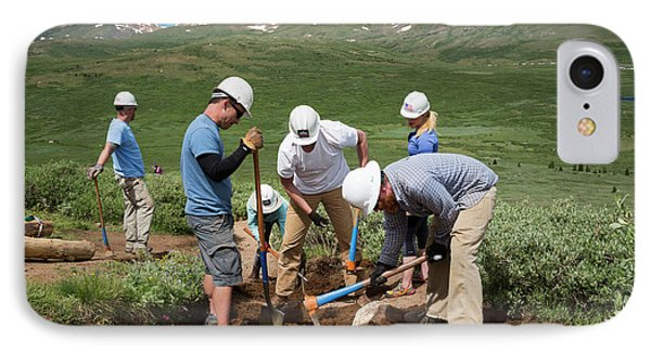 Volunteers Maintaining Hiking Trail IPhone Case by Jim West