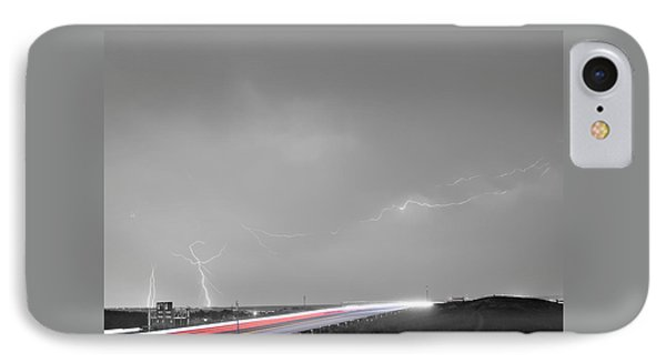 47 Street Lightning Storm Light Trails View Bwsc Phone Case by James BO  Insogna