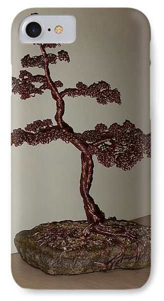 #48 Copper Wire Tree Sculpture On A Rock IPhone Case