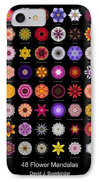 48 Flower Mandalas Phone Case by David J Bookbinder