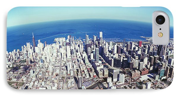 Aerial View Of A Cityscape With Lake IPhone Case by Panoramic Images