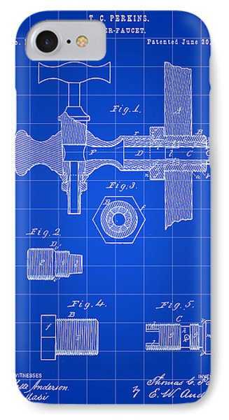 Beer Tap Patent 1876 - Blue IPhone Case by Stephen Younts