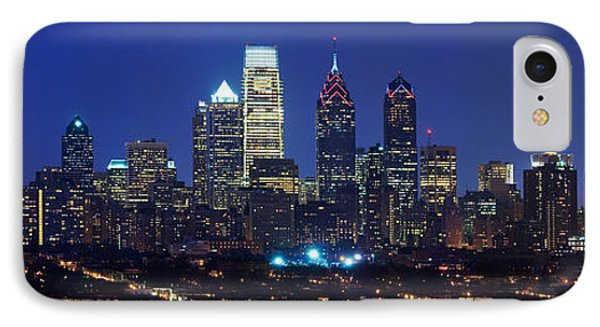 Buildings Lit Up At Night In A City IPhone Case by Panoramic Images