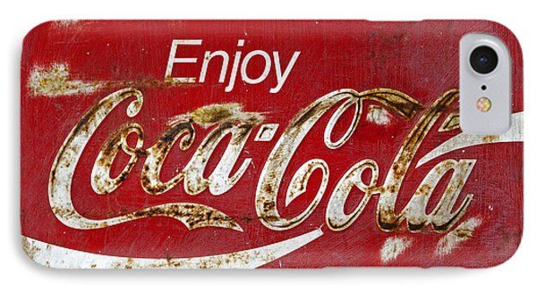 Coca Cola Vintage Rusty Sign IPhone Case by John Stephens