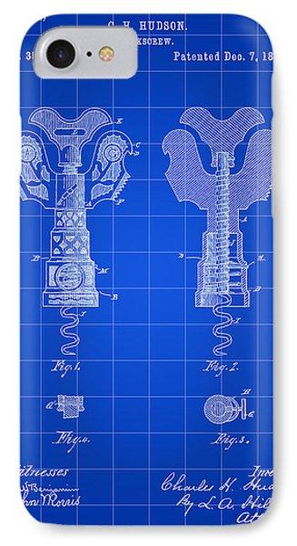 Corkscrew Patent 1886 - Blue IPhone Case