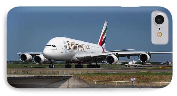 Emirates Airbus A380 IPhone Case by Paul Fearn