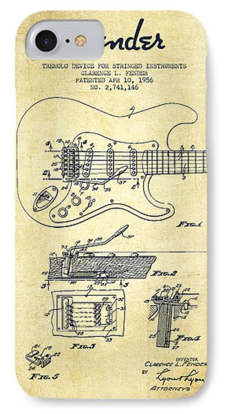 Fender Tremolo Device Patent Drawing From 1956 IPhone Case by Aged Pixel