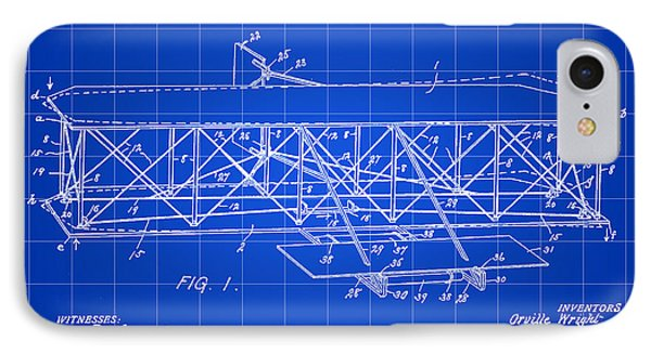 Flying Machine Patent 1903 - Blue IPhone Case by Stephen Younts
