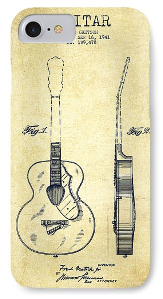 Gretsch Guitar Patent Drawing From 1941 - Vintage IPhone Case by Aged Pixel
