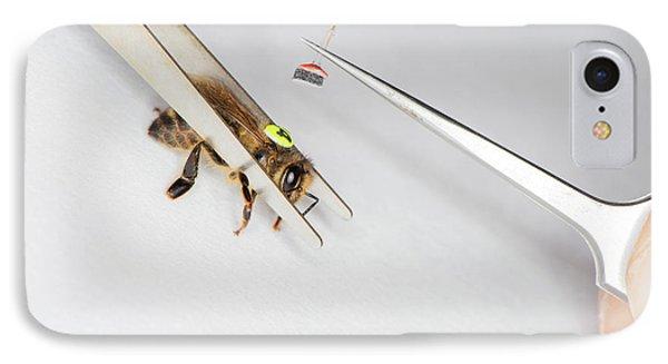 Honeybee iPhone 7 Case - Honeybee Radar Tagging by Louise Murray