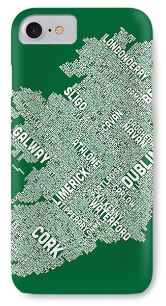 Ireland Eire City Text Map IPhone Case by Michael Tompsett