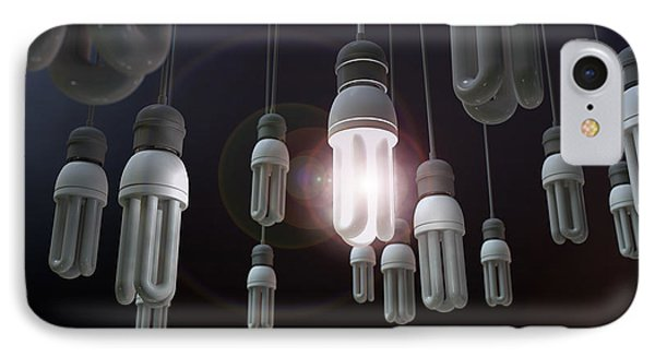Leadership Hanging Lightbulb IPhone Case by Allan Swart